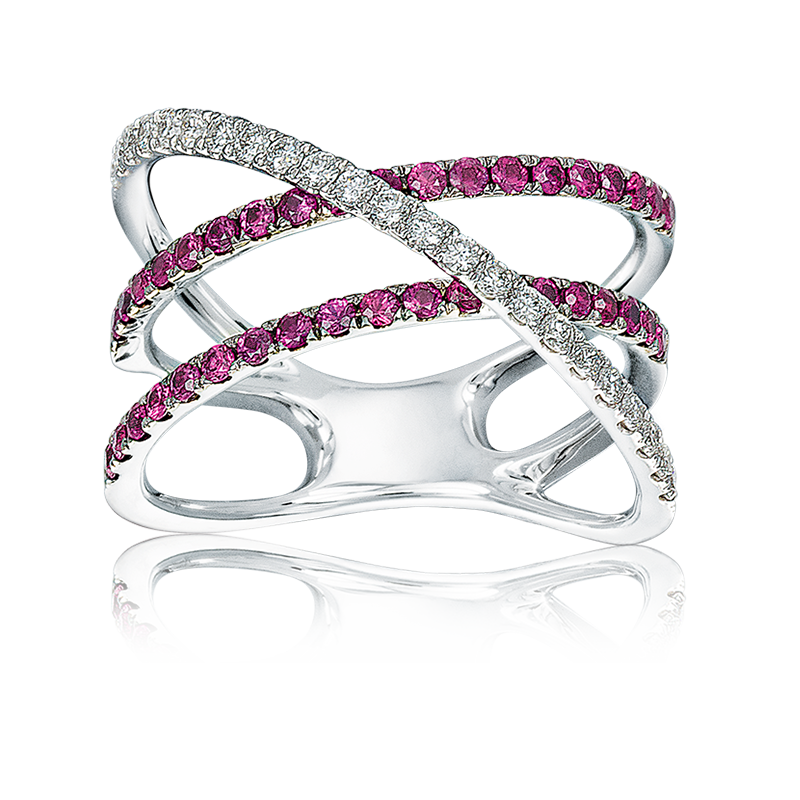 Cross-Over Ruby & Diamond Ring in White Gold
