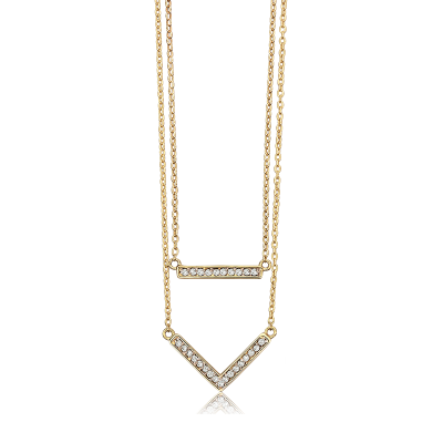 Double Strand Diamond Bar Necklace in 10k Yellow Gold