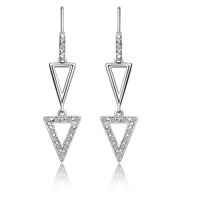 Diamond Multi-Triangle Dangle Earrings in Sterling Silver