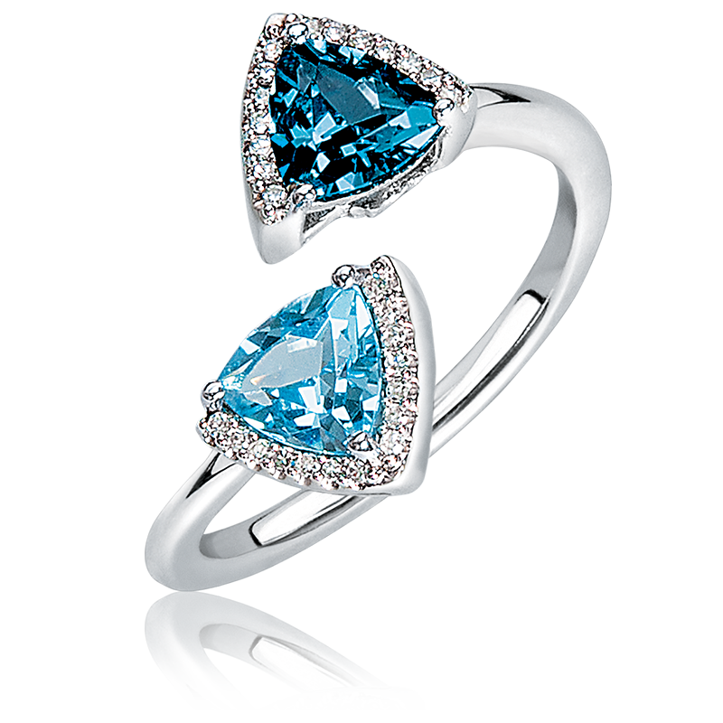 London Blue & Swiss Blue Topaz Diamond Open Ring in 10k White Gold