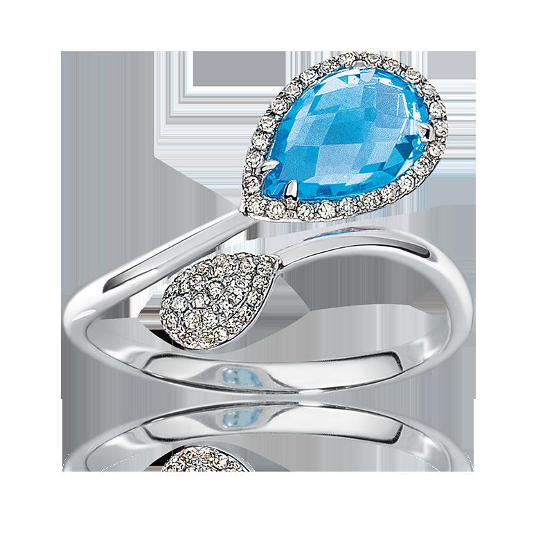 Blue Topaz Open-Design & Diamond Ring in White Gold