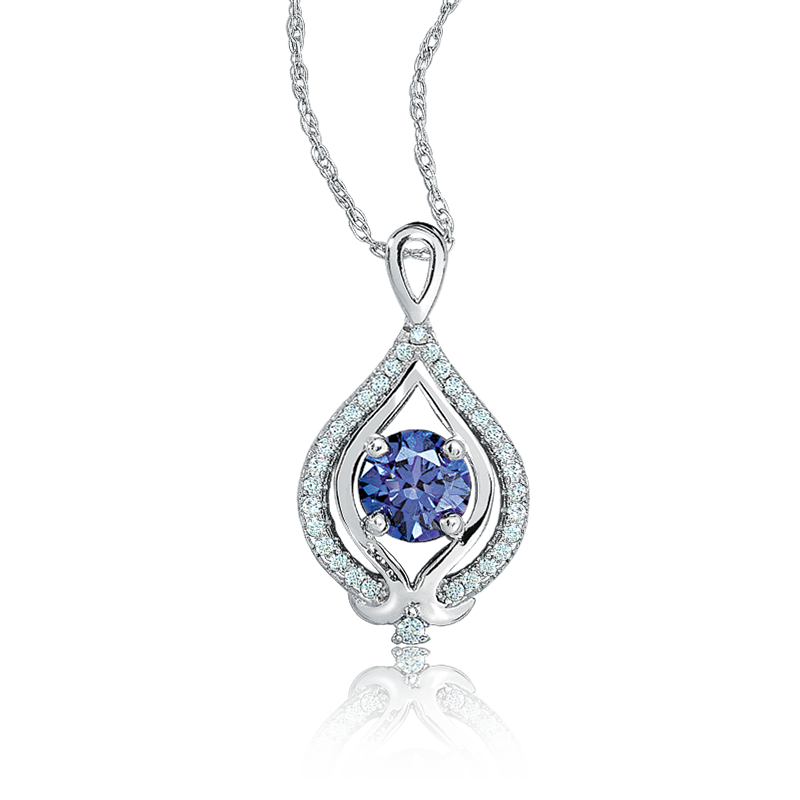 Tanzanite & Diamond Drop Pendant in 10K White Gold