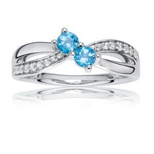 You & Me Swirl Two-Stone Blue Topaz & Diamond Ring in 10k White Gold