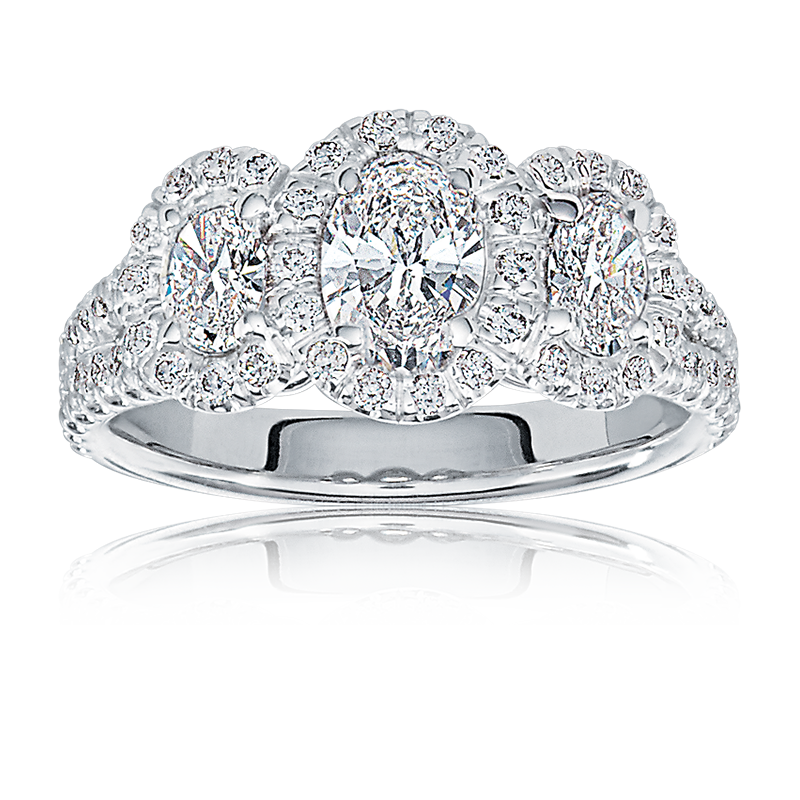 Brynlee. Diamond Three-Stone Oval Engagement Ring in 14k White Gold