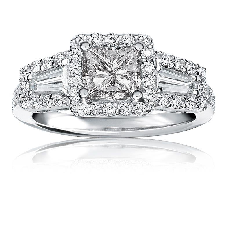 Blake. Vintage-Inspired Princess-Cut & Baguette 1¾ctw. Diamond Engagement Ring