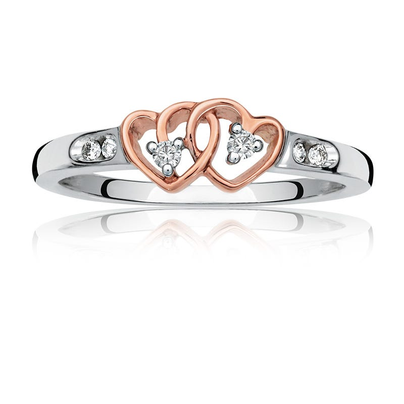 Diamond Accent Double Heart Promise Ring in Sterling Silver & 10k Rose Gold