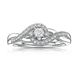 JK Crown Brilliant-Cut 1/3ctw Promise Ring in 10k White Gold