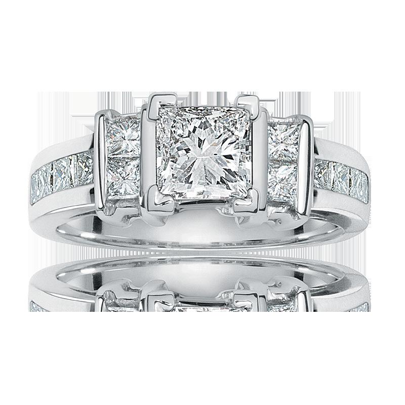 Elegance. Princess-Cut Diamond Engagement Ring in 14k White Gold