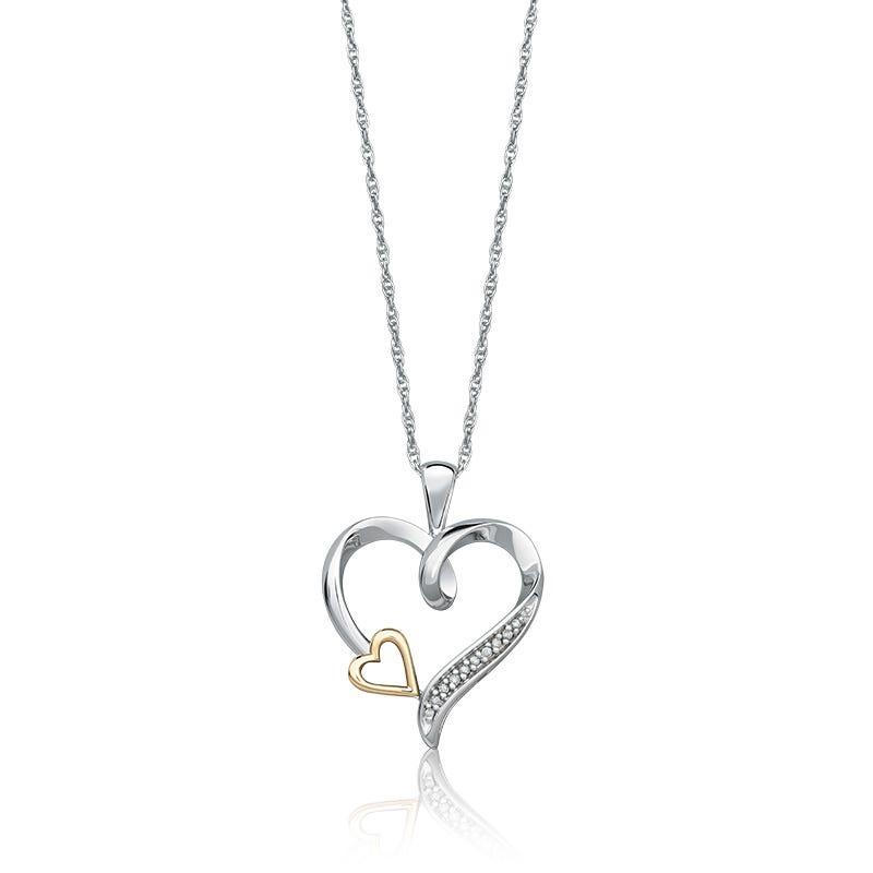 Linked Hearts Diamond Two-Tone Pendant
