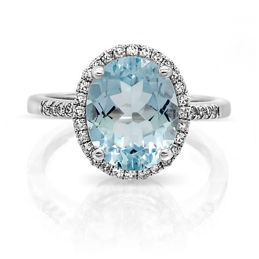 Aquamarine Oval & Diamond Halo Ring in 14k White Gold