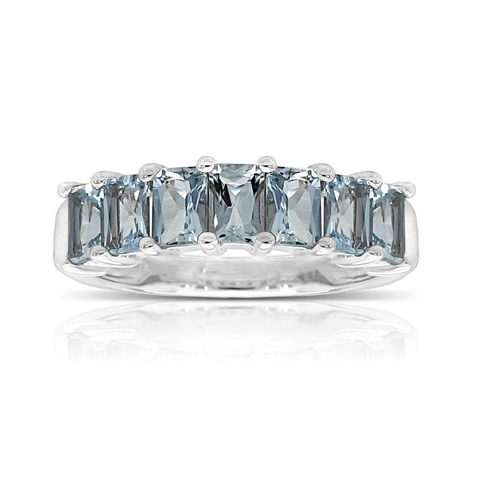 Aquamarine Emerald-Cut Gemstone Ring in 14k White Gold