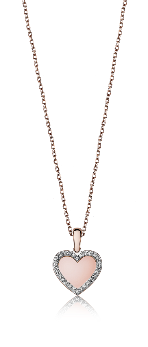 Diamond Halo Heart Pendant Necklace in 10k Rose Gold