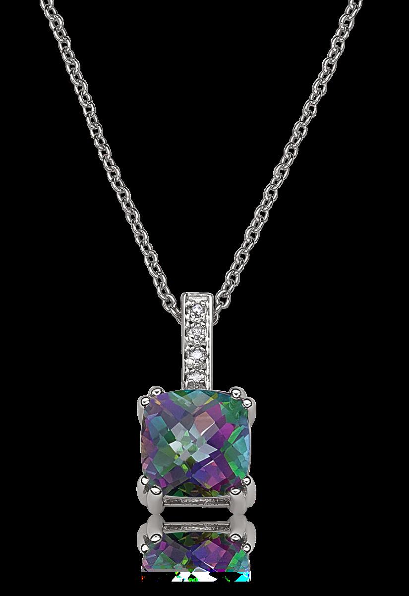 Mystic Topaz & Diamond Accent Pendant in Sterling Silver
