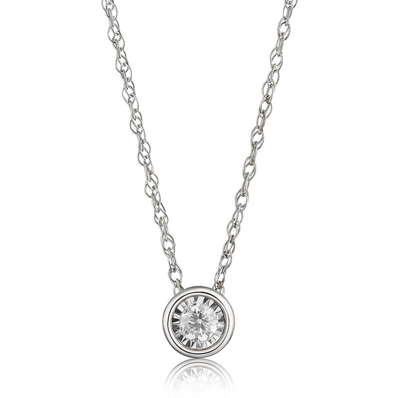 Bezel-Set Diamond 1/10ctw. (HI, I2-3) Solitaire Pendant in 10k White Gold