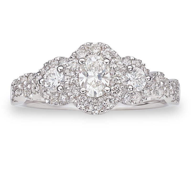 Lovely. 1ctw. Diamond Oval Three-Stone Halo Engagement Ring