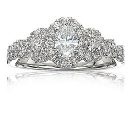 Lovely. Oval Diamond Three Stone Halo Plus Engagement Ring 1ctw in 14k White Gold