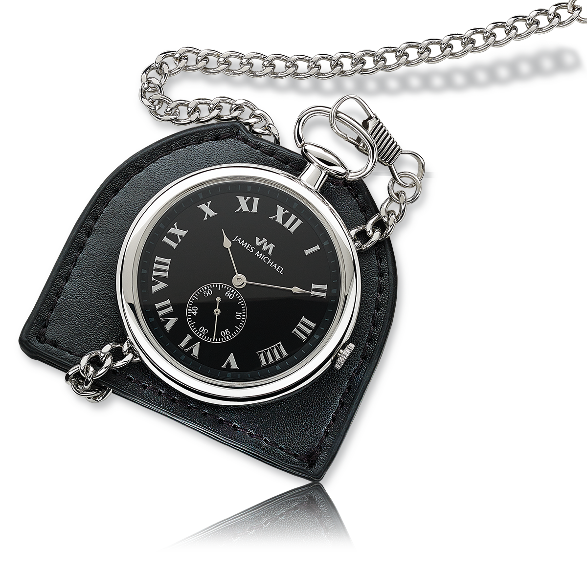 Pocket Watch Open Face Gold Plated Black Dial With Black Leather Pouch
