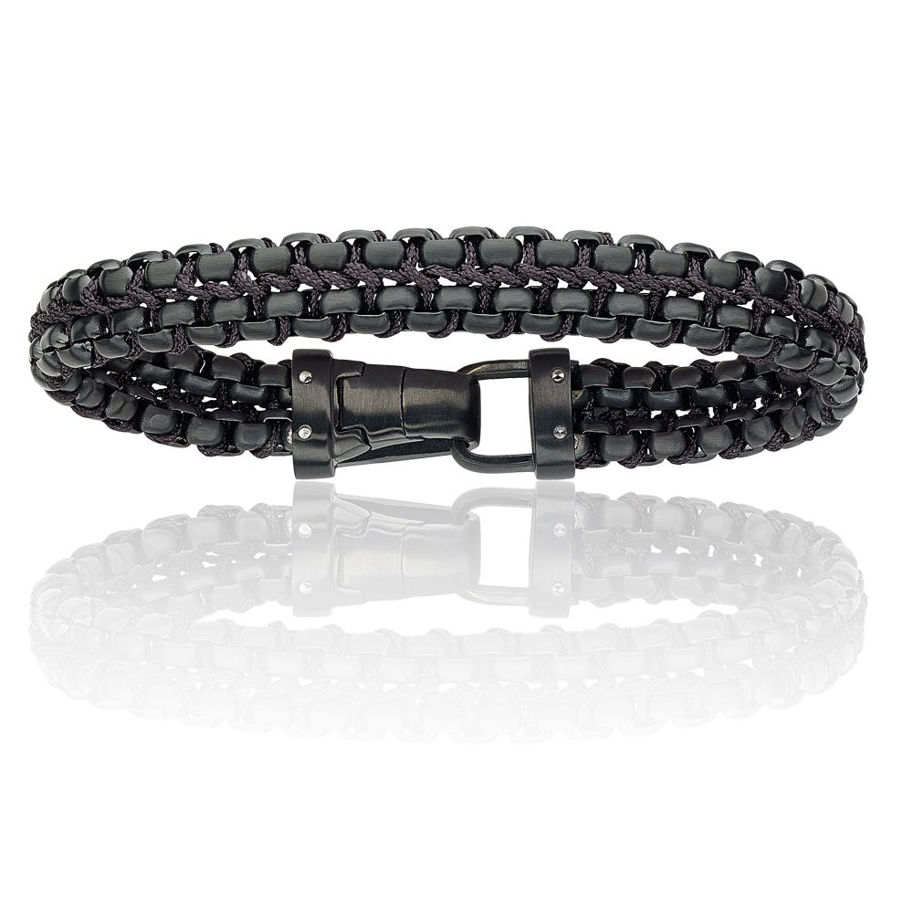Men's Black Leather & Nylon Braided Bracelet
