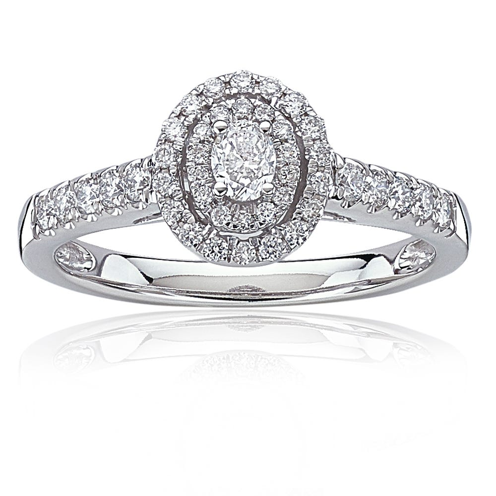 Naomi. Diamond 1/2ctw. Oval Double Halo Engagement Ring in White Gold