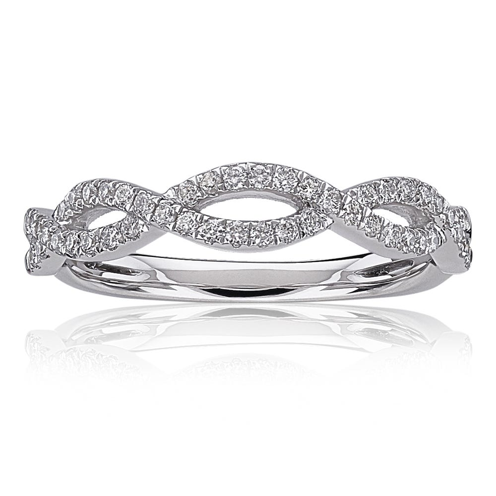 Diamond Woven 1 4ctw Twist Band In 14k White Gold
