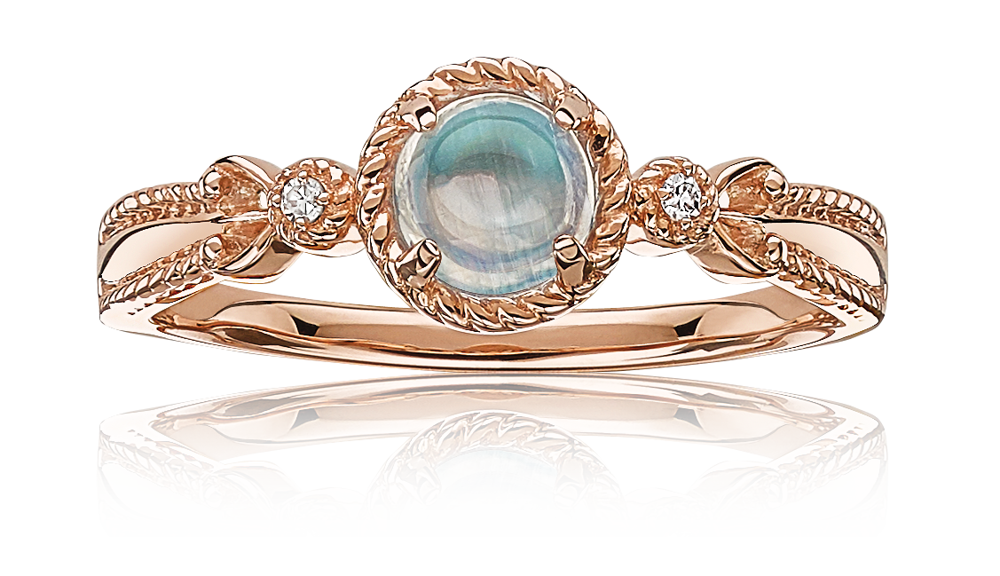 Moonstone Gold Twist Halo Fashion Ring in 10k Rose Gold