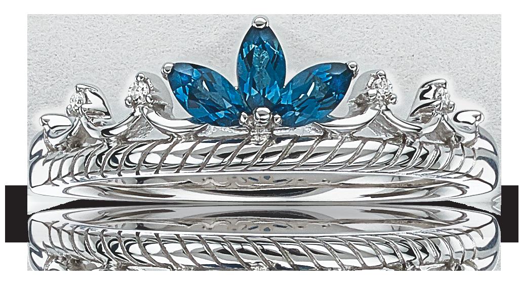 London Blue Topaz & Diamond Princess Crown Tiara Ring