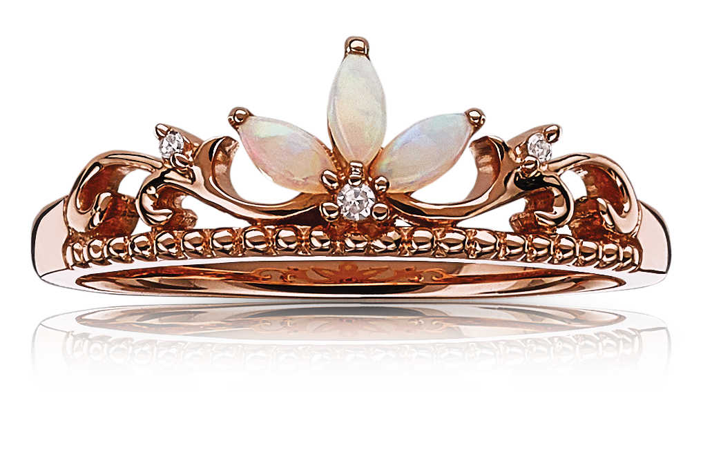 Opal & Diamond Princess Crown Tiara Ring in Rose Gold