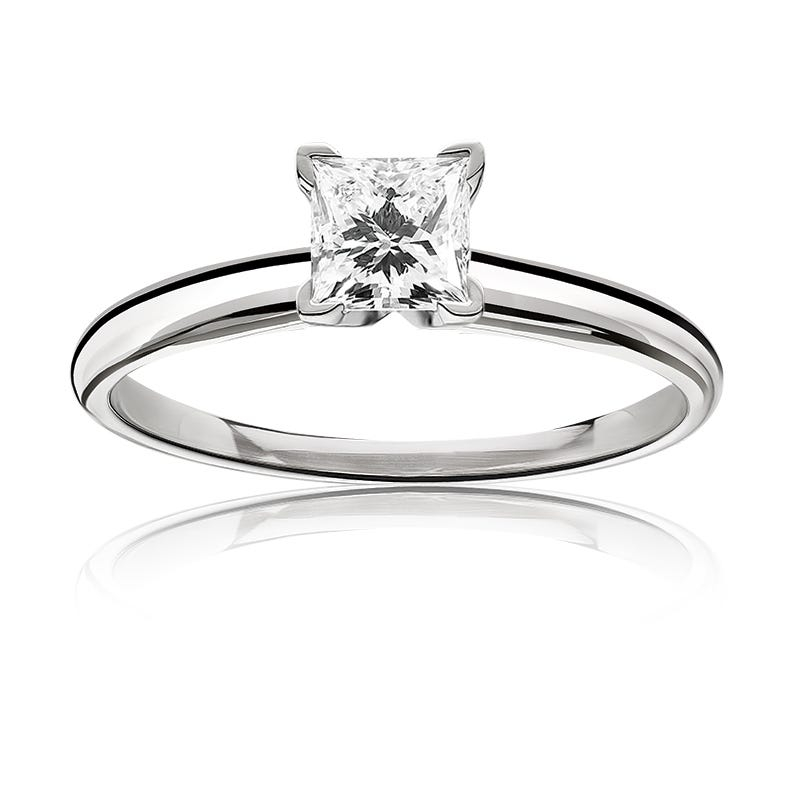 Lab Grown 1ct. Diamond Princess-Cut Classic Solitaire Engagement Ring in 14k White Gold