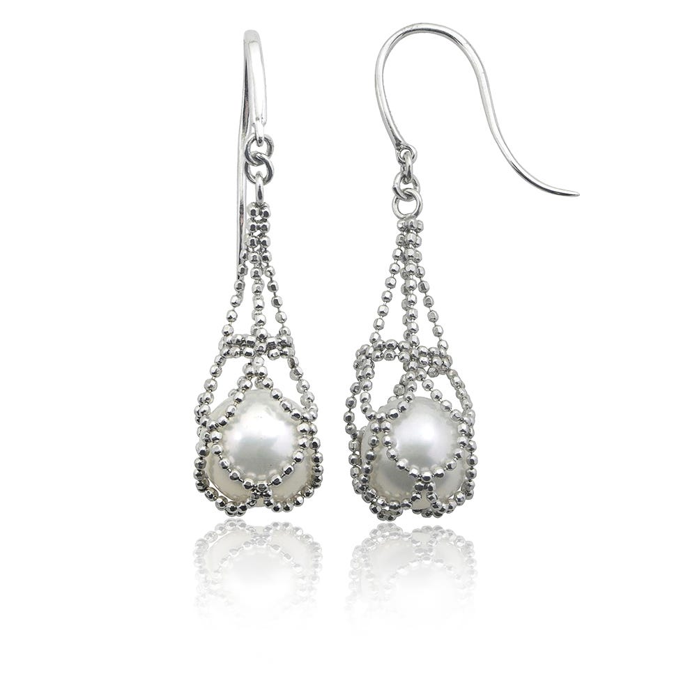 Imperial Pearl Lace Cultured Freshwater Pearl Cage Dangle Earrings in Sterling Silver