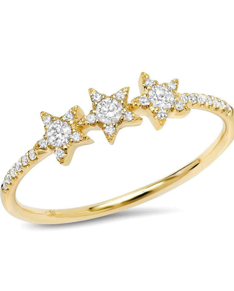 Shy Creation Diamond Star Ring in 14k Yellow Gold SC55004954