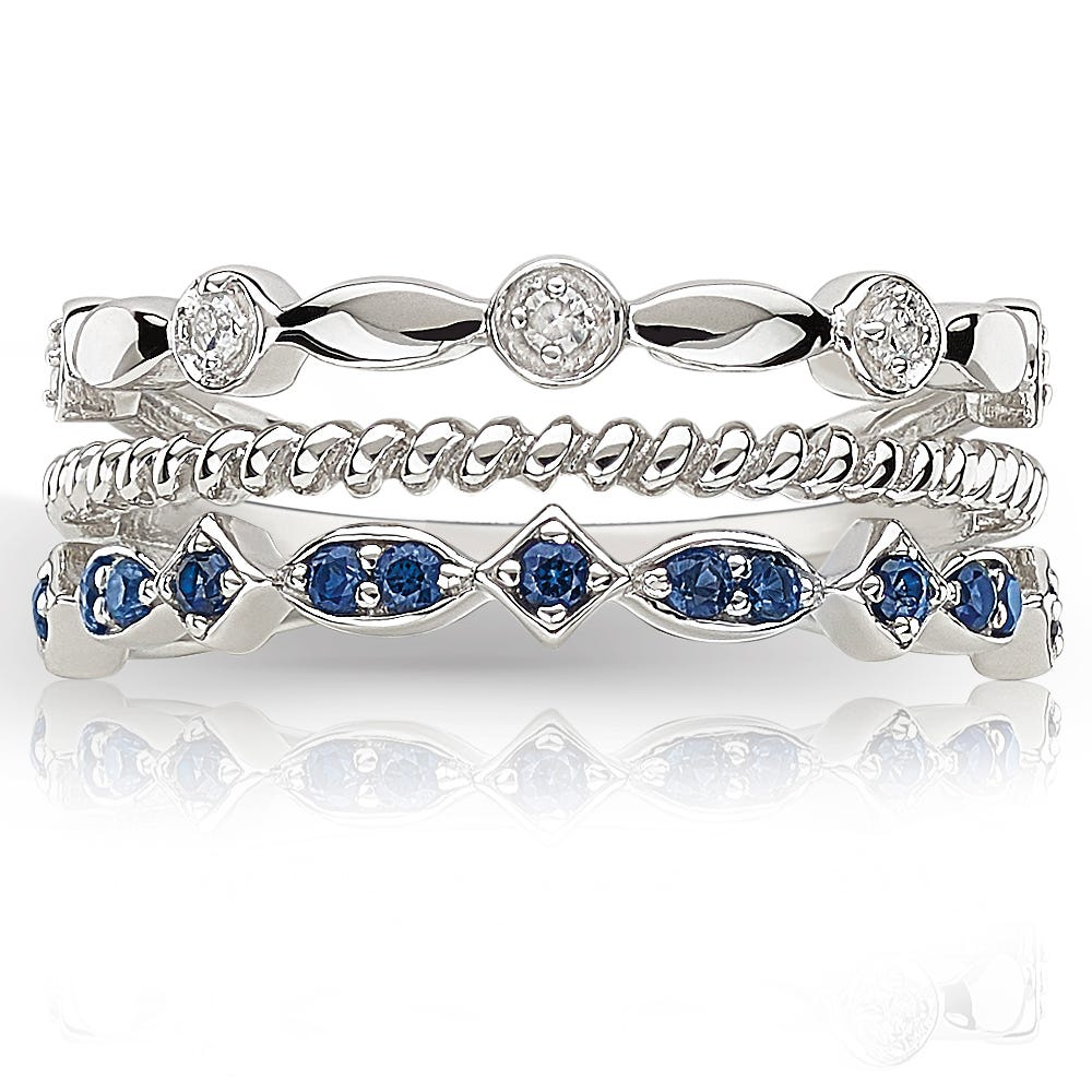 Created Sapphire & Diamond Stackable Band in Sterling Silver