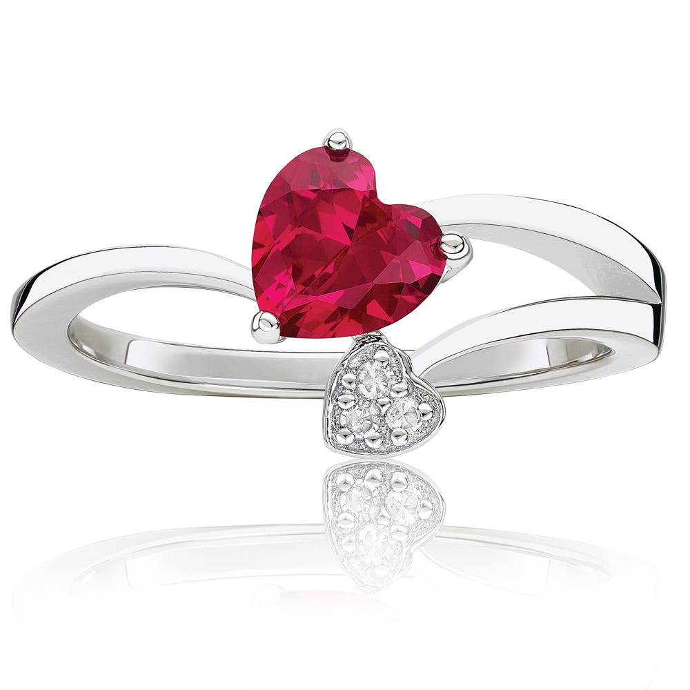 Double Heart Created Ruby & Diamond Ring in Sterling Silver