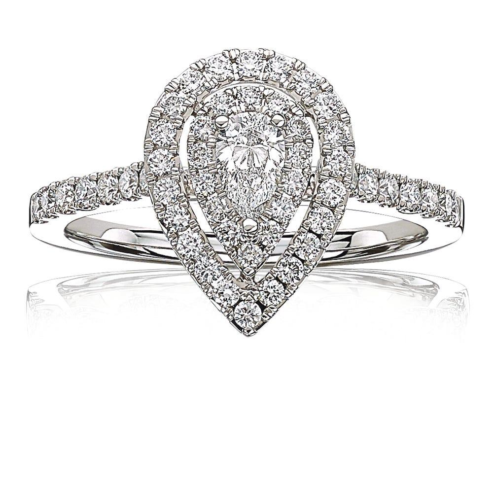 4a769103b3ca75 Ella. Pear-Shape Halo Diamond Engagement Ring in 14k White Gold