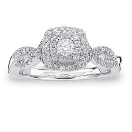 Annie. Diamond Double Halo Engagement Ring in White Gold