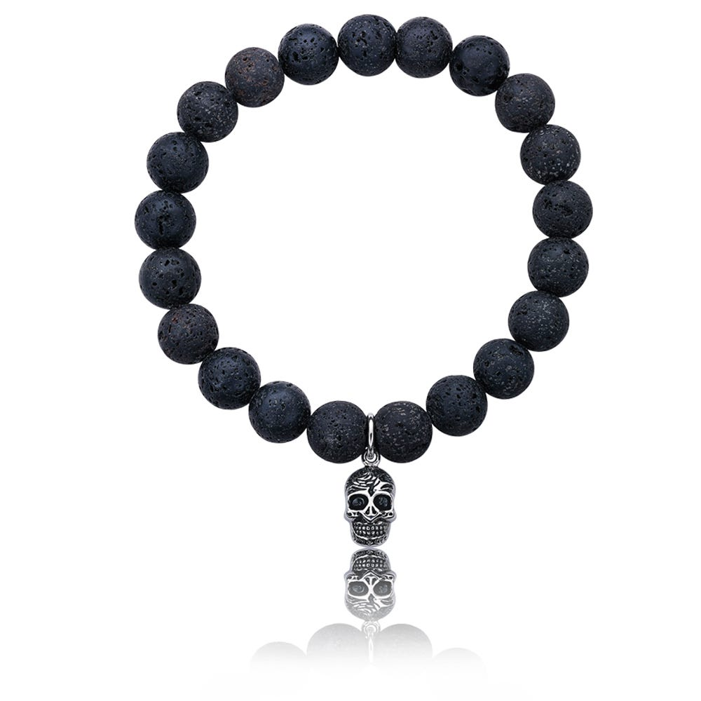 Lava Bead Skull Bracelet in Stainless Steel