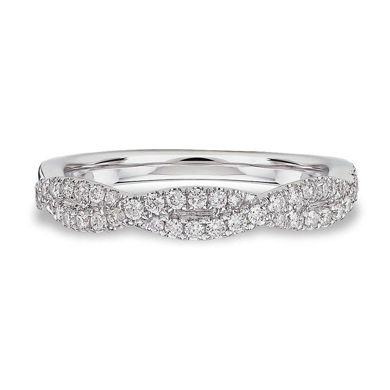 Ladies' Diamond Crossover Tight Twist Ring in 14k White Gold