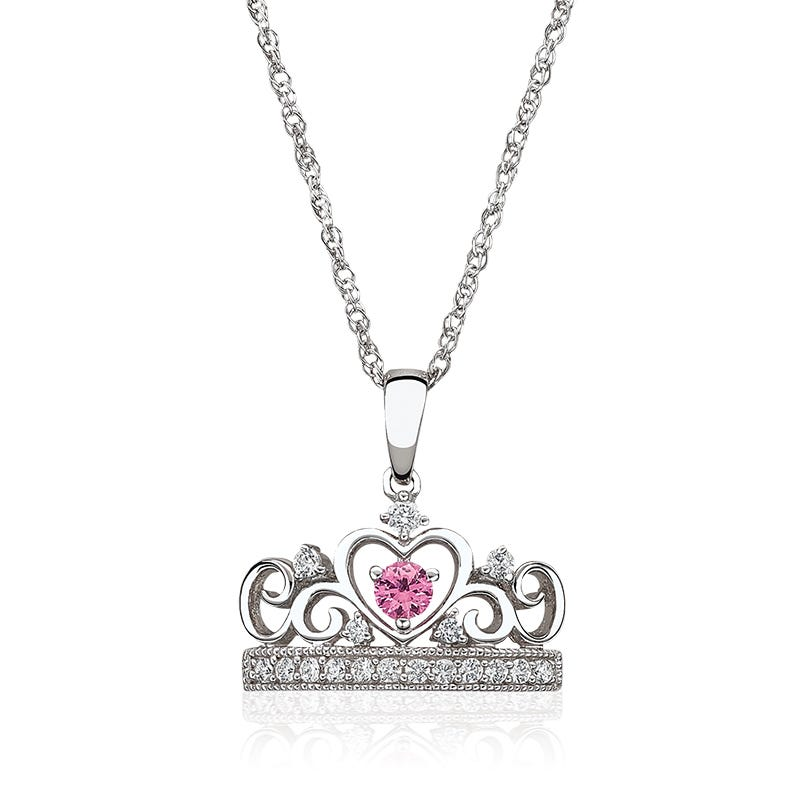 Princess Pink Sapphire & Created White Sapphire Tiara Necklace in Sterling Silver