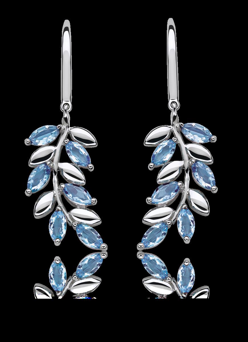Blue Topaz Marquise-Cut Leaf Design Dangle Earrings in Sterling Silver
