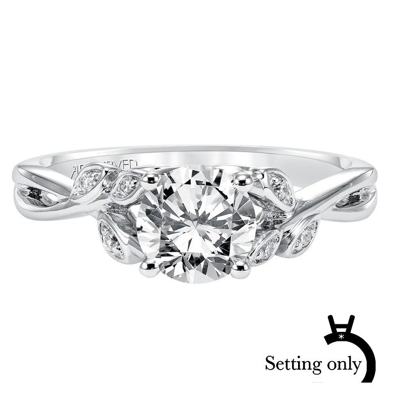 Corinne. ArtCarved Floral-Inspired Diamond Semi-Mount in 14k White Gold