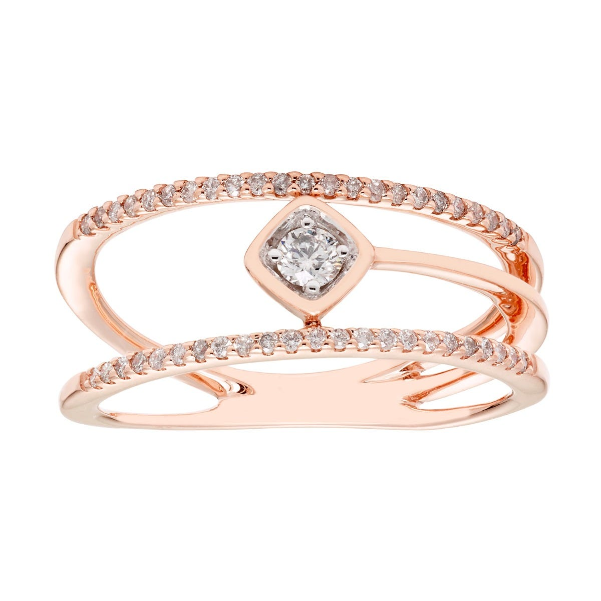 Brilliant-Cut Multi-Row Diamond Fashion Ring 1/4ctw in 10k Rose Gold