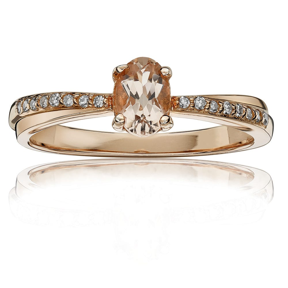 Oval Morganite & Diamond Ring in 10k Rose Gold