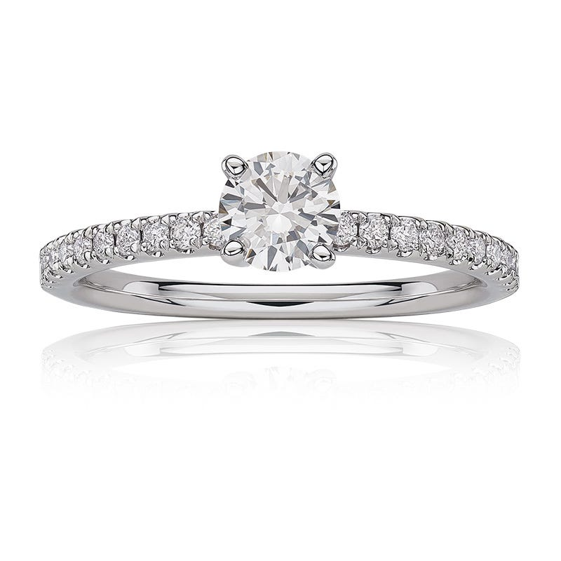 Lab Grown Diamond Round Classic Engagement Ring in 14k White Gold