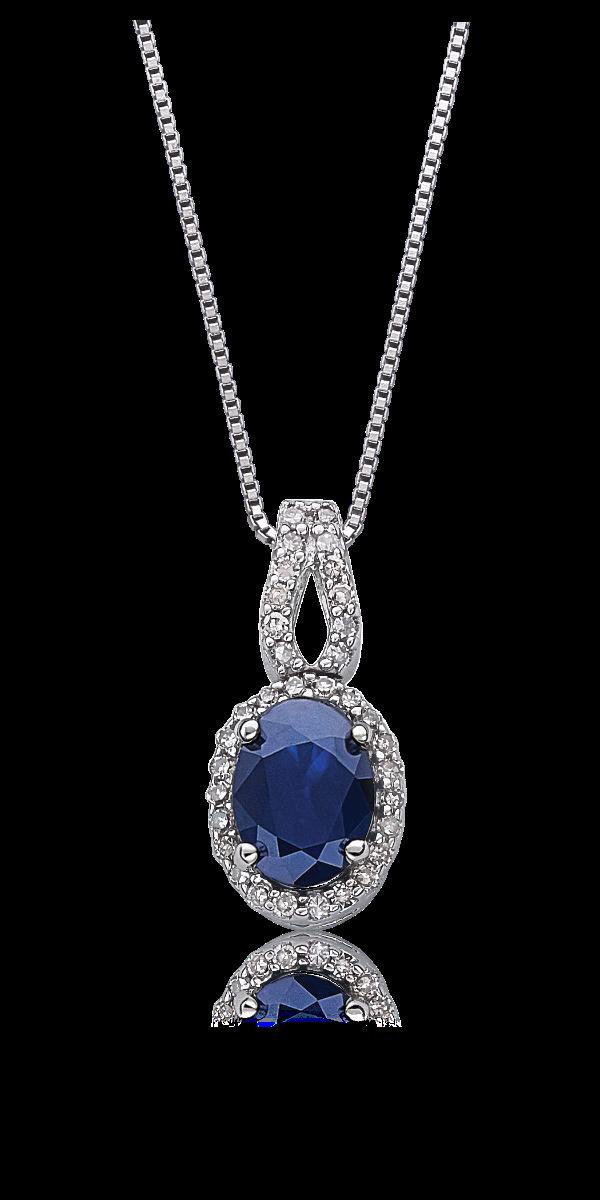 Sapphire & .14ctw Diamond Halo Pendant in 10k White Gold
