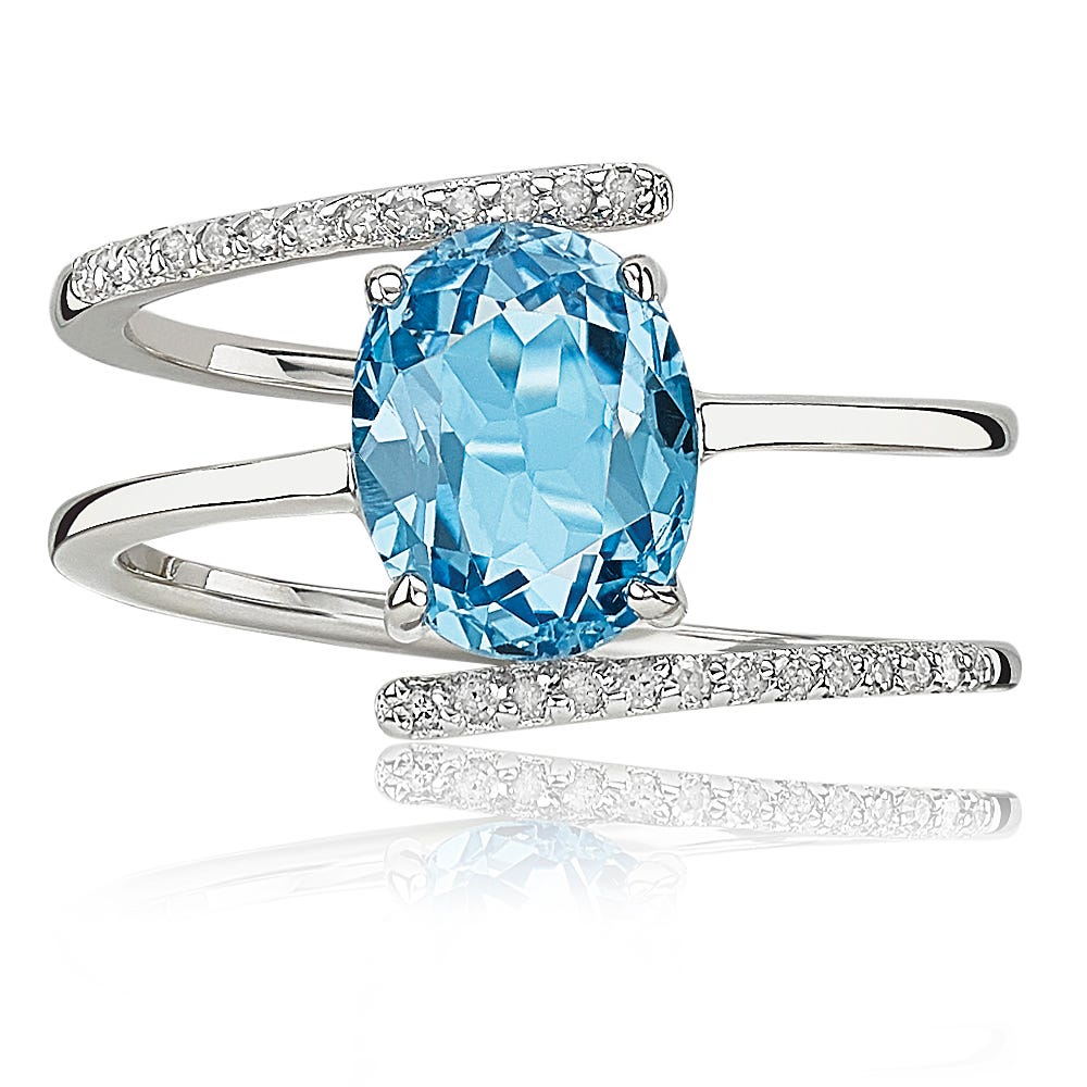 Oval Blue Topaz & Diamond Multi-Layer Ring in Sterling Silver