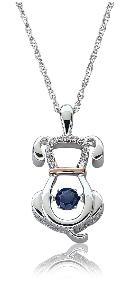 Beats Of Love: Dog Sapphire Pendant in Sterling Silver & Rose Gold