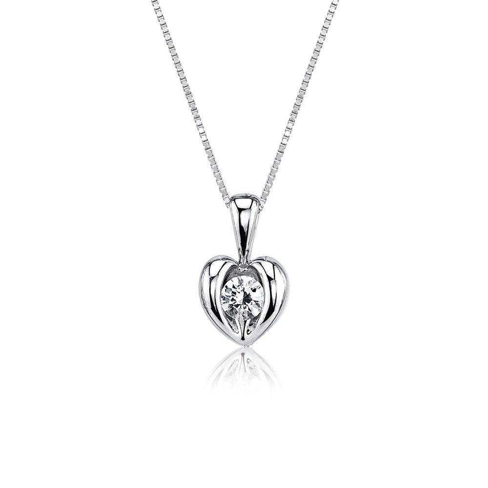 Sirena Petite Heart Diamond Pendant in 14k White Gold