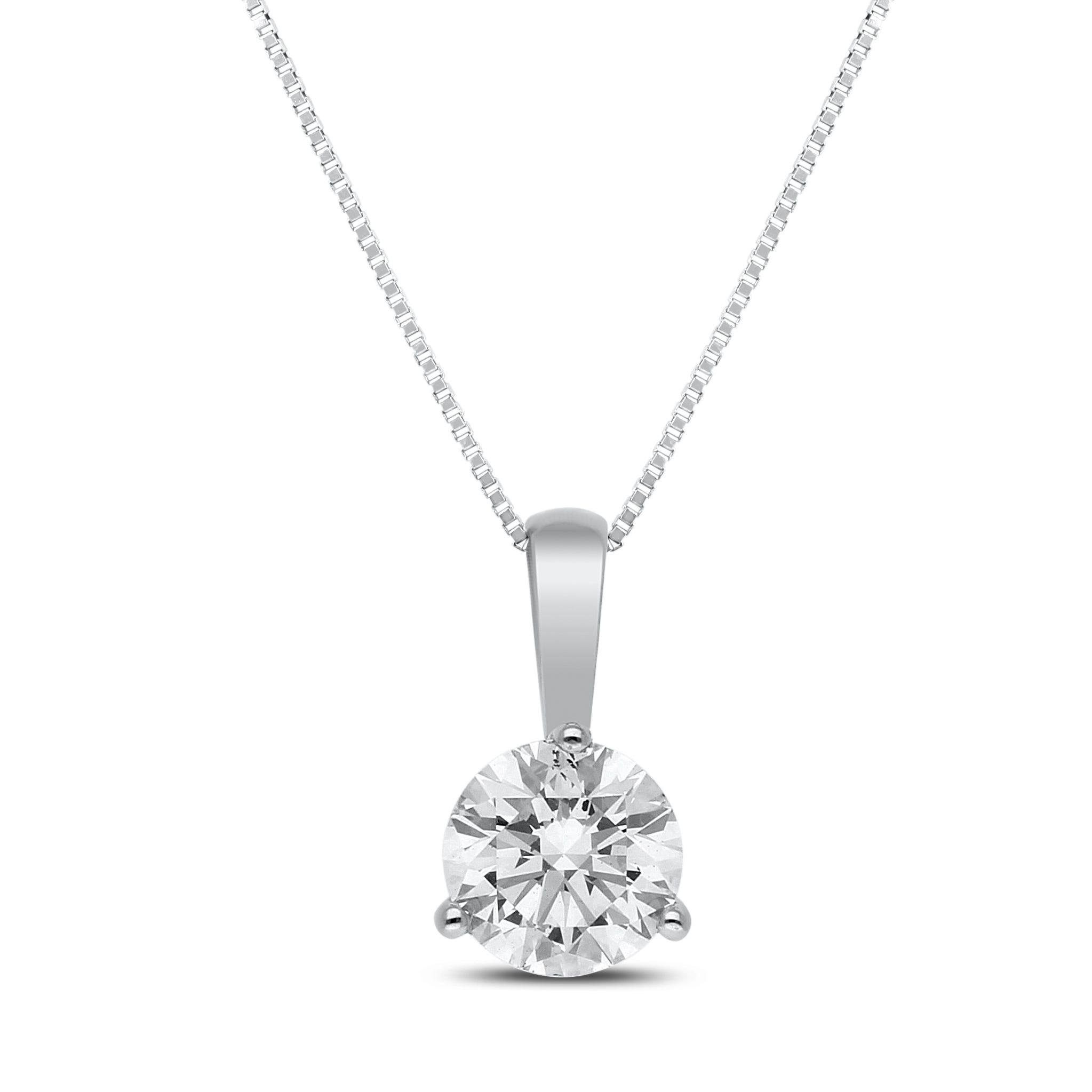 Lab-Crafted Diamond 7/8ctw. Brilliant Round Diamond Pendant in 14k White Gold