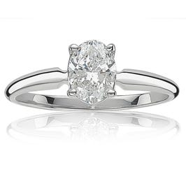 Oval 1ctw. Solitaire Diamond Engagement Ring in 14k White Gold