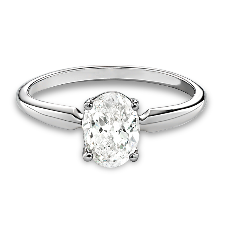 Oval Solitaire 1ctw. Diamond Engagement Ring in 14k White Gold