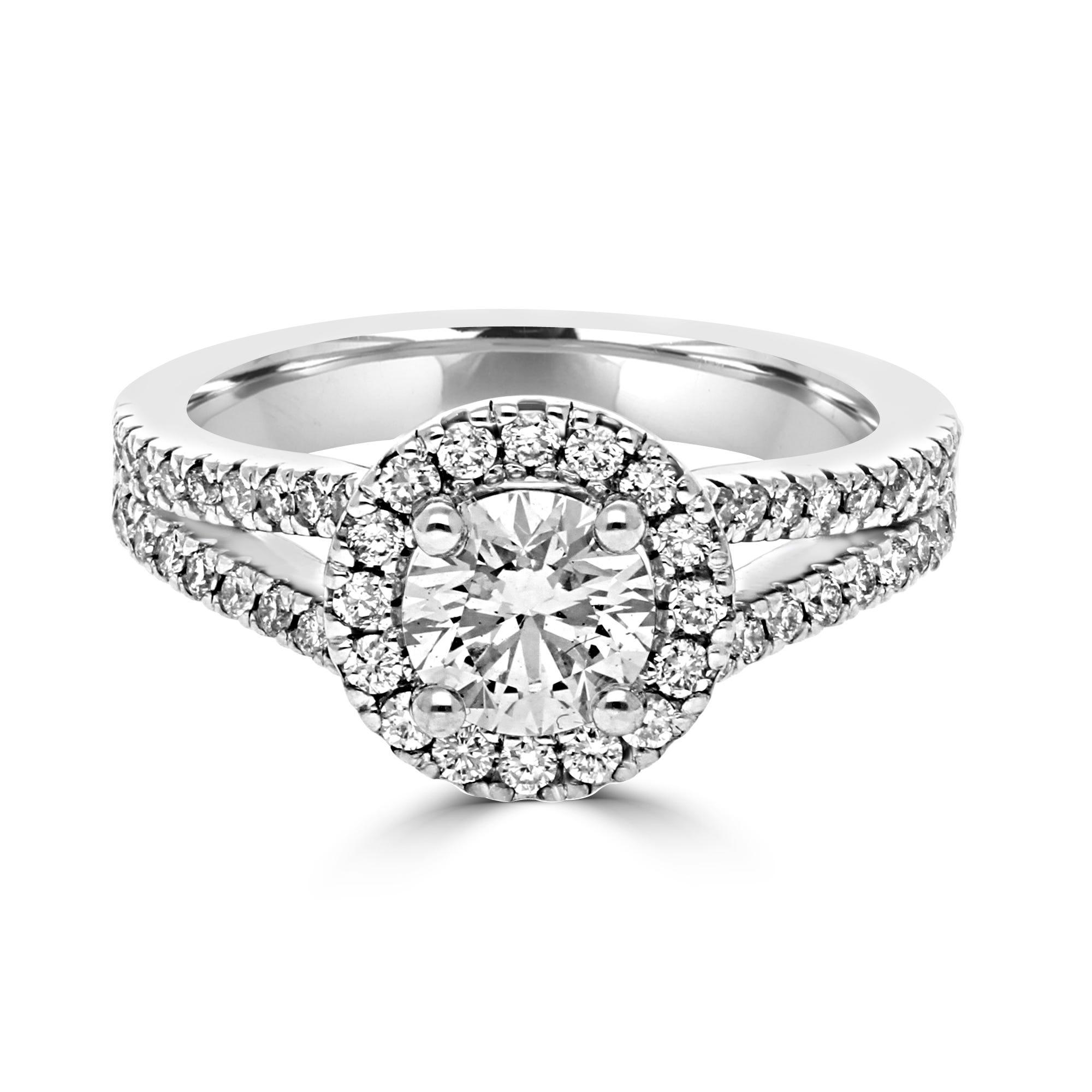 Lab Grown 1 1/2ct. Diamond Split Shank Halo Engagement Ring in 14k White Gold
